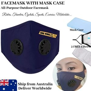 1Set Dual Breathing Valve Blue Face mask with Case